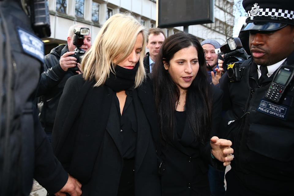 LONDON, ENGLAND - DECEMBER 23: Love Island presenter Caroline Flack (L) is seen at Highbury Corner Magistrates Court on December 23, 2019 in London, England. The Love Island host is due in court after being charged with assault by beating following an argument with boyfriend Lewis Burton. (Photo by Hollie Adams/Getty Images)