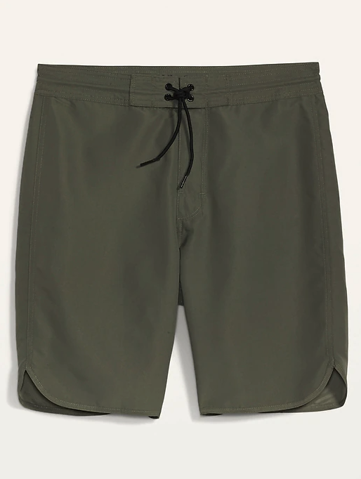 Solid-Color Dolphin-Hem Board Shorts 10-inch. Image via Old Navy.