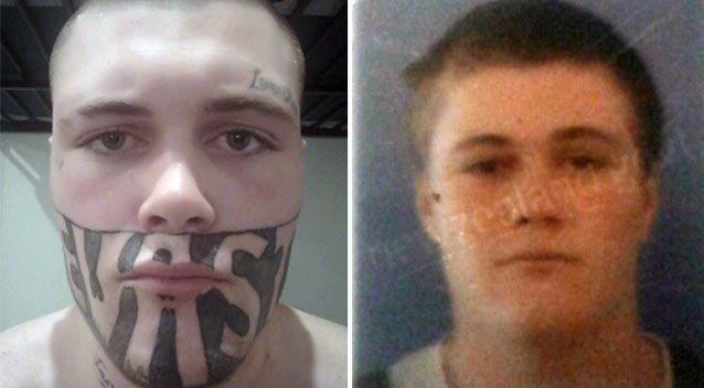 Mark Cropp has revealed how his face looked before he had the 'DEVAST8' tattoo. Photo: Supplied
