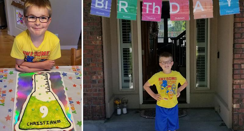 Birthday cake and a birthday banner pictured from the nine-year-old's party in Meridan, Idaho.