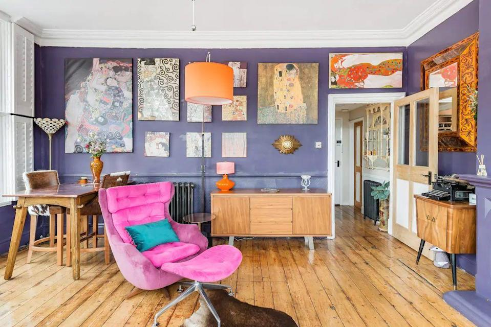 """<p>For something fun and intriguing in the Shropshire Hills, this Airbnb for two contains plenty of character that art lovers will appreciate. Its creative rooms are inspired by the work of artist Gustav Klimt and is part of a former Georgian hotel, with a mix of mid-century furnishings and retro design pieces. We like the original floorboards, soaring ceilings and massive windows, which the owner recommends enjoying at sunset with a cocktail in hand.</p><p><strong>Sleeps:</strong> Two</p><p><a class=""""link rapid-noclick-resp"""" href=""""https://airbnb.pvxt.net/qngYEY"""" rel=""""nofollow noopener"""" target=""""_blank"""" data-ylk=""""slk:SEE INSIDE"""">SEE INSIDE</a></p>"""