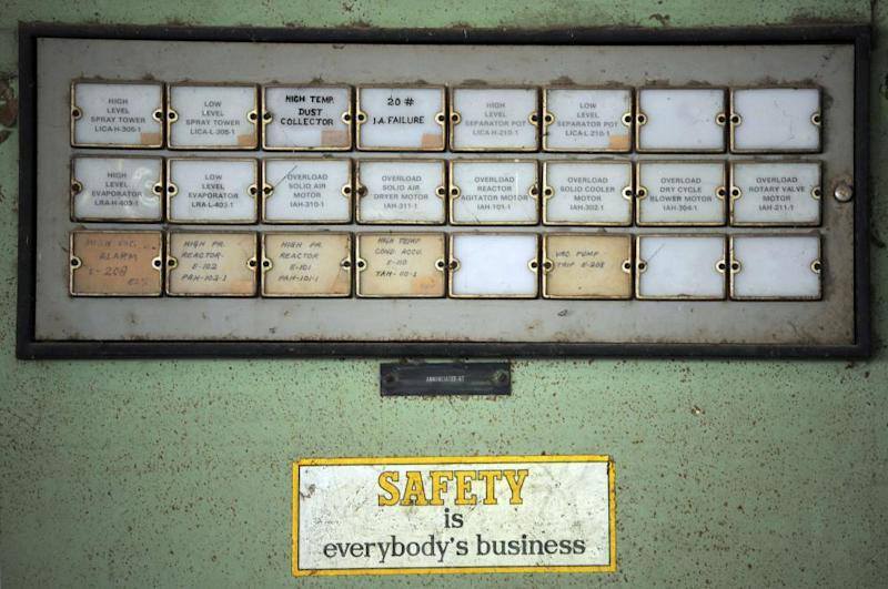 A machine inside one of the buildings at the now-defunct Union Carbide pesticide factory.