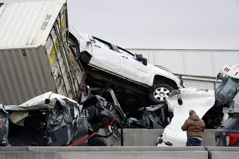 Vehicles are piled up after a fatal crash on Interstate 35 near Fort Worth. Source: The Dallas Morning News via AP