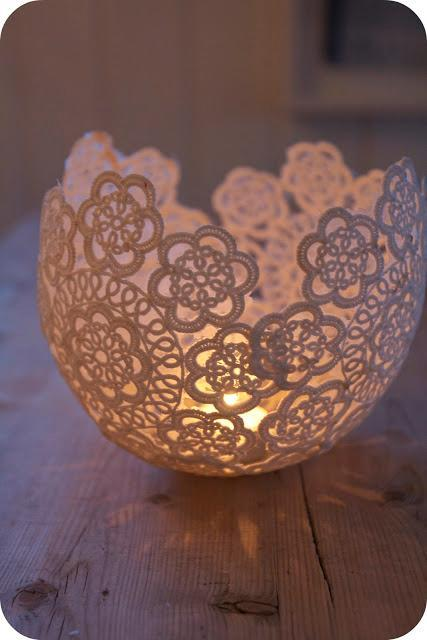 lace doilie fashioned in to a votive holder