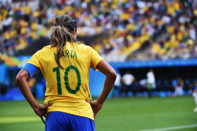 Marta aims to round of an incredible career with victory at the World Cup. (Photo credit should read NELSON ALMEIDA/AFP/Getty Images)