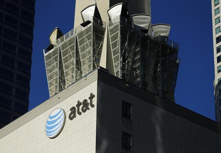 An AT&T logo and communication equipment is shown on a building in Los Angeles