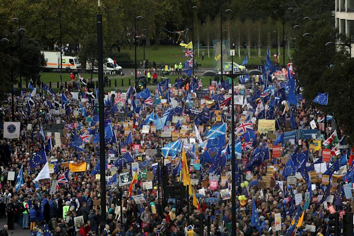 The People's Vote march organisers estimated around one million people were present. (Reuters)