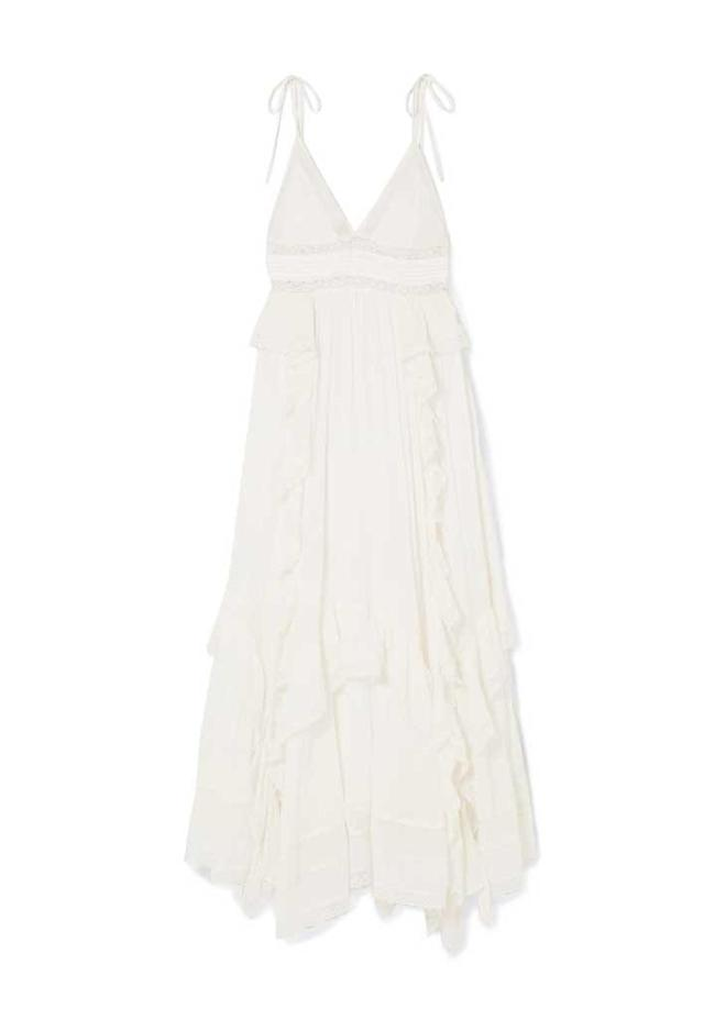 White ruffled maxi dress. (Photo: Ulla Johnson/Net-a-Porter)