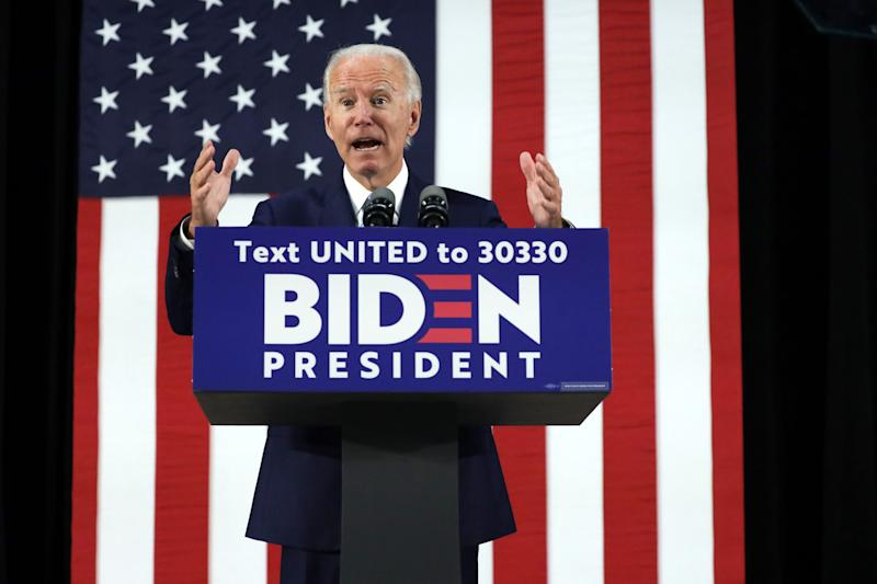 Democratic presidential candidate former Vice President Joe Biden speaks during a campaign event June 30, 2020 at Alexis I. Dupont High School in Wilmington, Delaware.