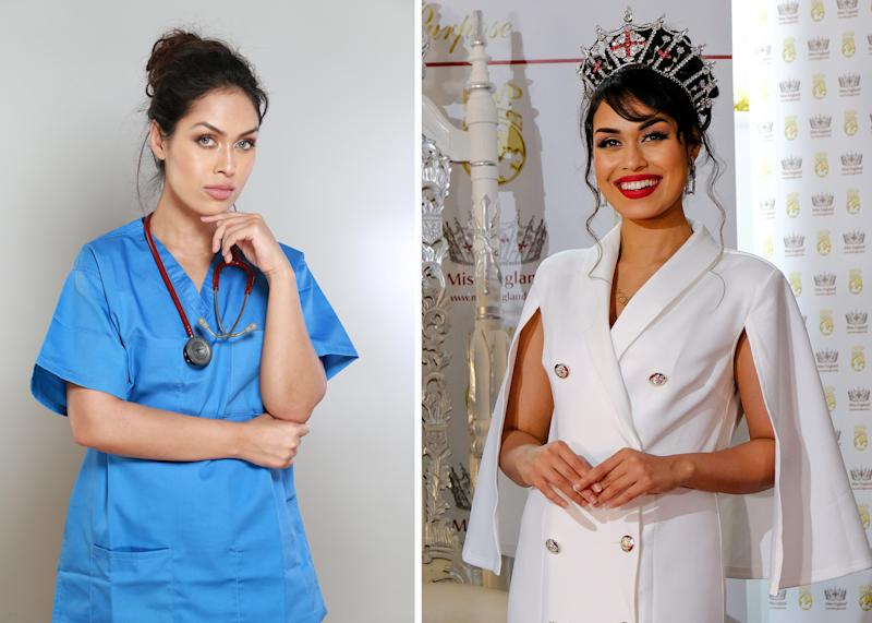 Dr Bhasha Mukherjee has become the longest serving Miss England in the competition's history. (SWNS)