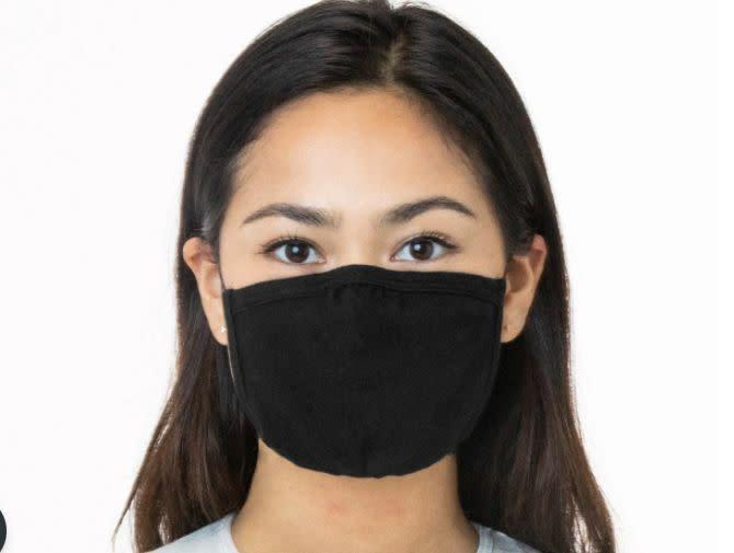 "These are made of 100% cotton and feature an adjustable nose. Two straps worn around the head and neck can be tied and tightened to preferred fit.<br><a href=""https://losangelesapparel.net/products/3-pack-cotton-mask?sscid=41k4_orpiv&amp;utm_source=shareasale&amp;utm_medium=aff_top&amp;utm_campaign=314743"" rel=""nofollow noopener"" target=""_blank"" data-ylk=""slk:Get the Los Angeles Apparel 3-pack of face masks for $30"" class=""link rapid-noclick-resp""><strong> <br>Get the Los Angeles Apparel 3-pack of face masks for $30</strong></a>"