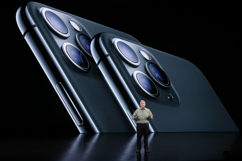 Phil Schiller, Senior Vice President of Worldwide Marketing presents the new iPhone 11 Pro at an Apple event at their headquarters in Cupertino, California, U.S. September 10, 2019. REUTERS/Stephen Lam