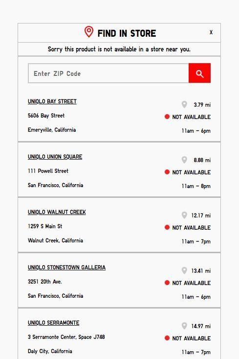 Uniqlo store locator showing that all nearby stores were sold out of the item.