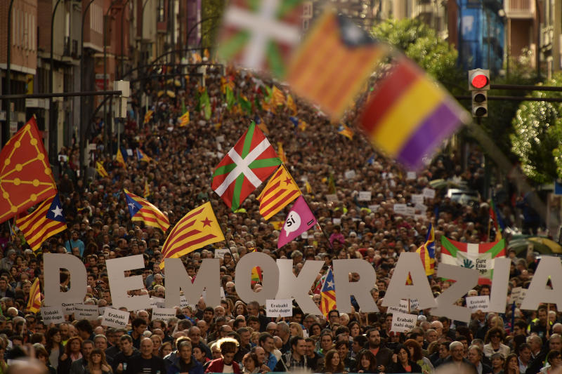 Supporters of an independent Catalonia demonstrate in Bilbao, Spain