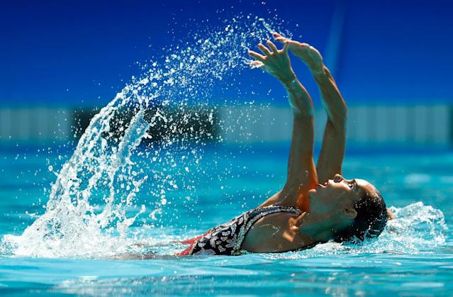 <p>Ona Carbonell Ballestero and Gemma Mengual Civil of Spain compete in the Women's Duets Synchronised Swimming Free Routine Preliminary Round on Day 9 of the Rio 2016 Olympic Games at Maria Lenk Aquatics Centre on August 14, 2016 in Rio de Janeiro, Brazil. (Photo by Clive Rose/Getty Images) </p>