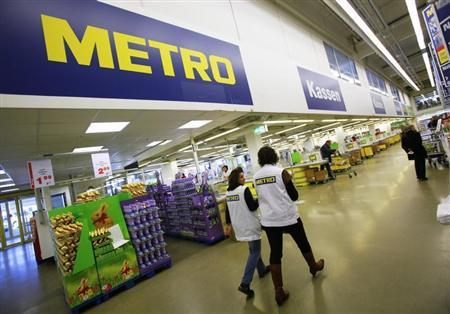 The checkout area of one of the top three cash and carry markets of Metro AG is seen in Sankt Augustin
