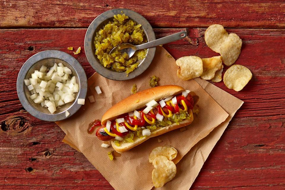 Hot Dog with Mustard, Ketchup, Relish, Onions, and Potato Chips