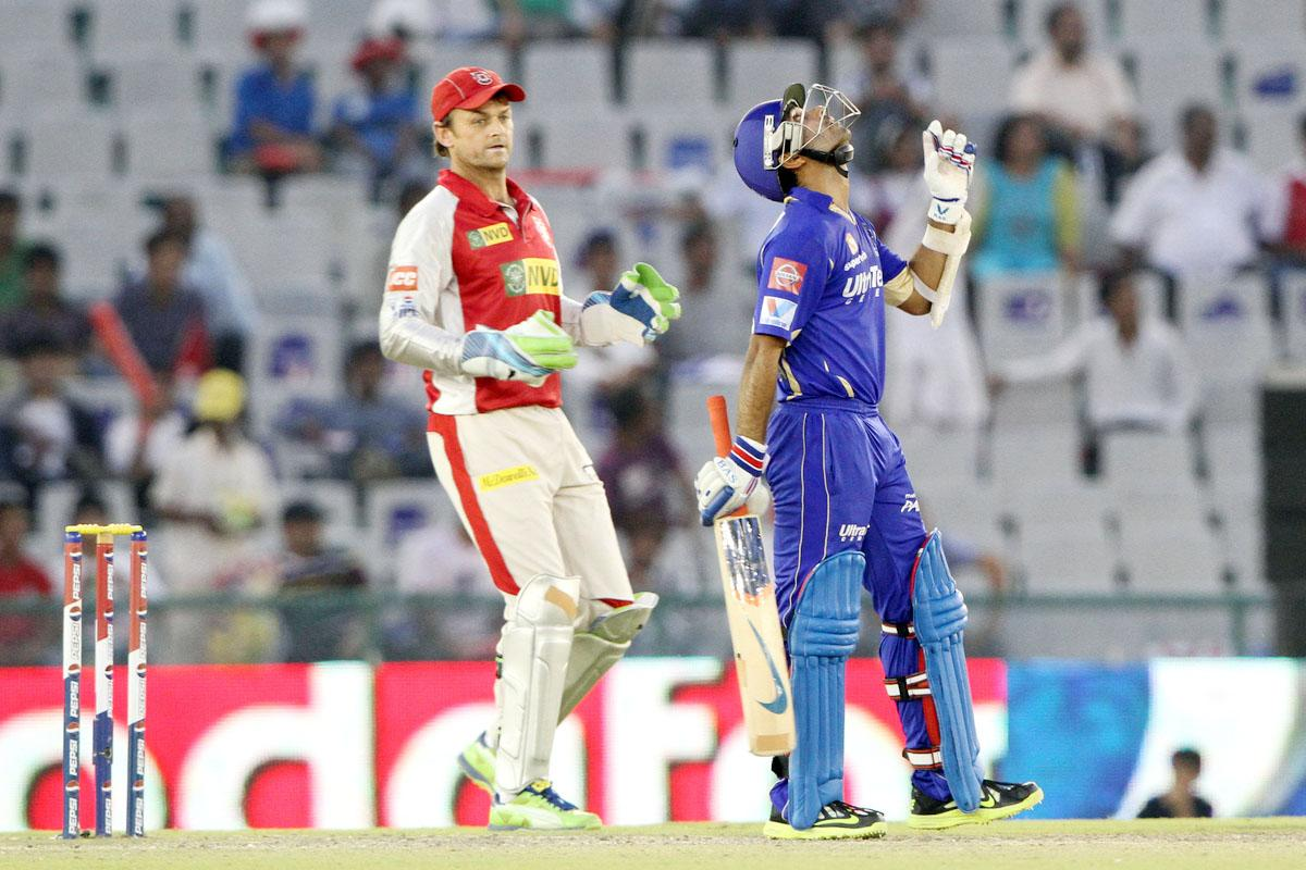 Rajasthan Royals player Ajinkya Rahane celebrates after scoring a half century during match 55 of of the Pepsi Indian Premier League between The Kings XI Punjab and the Rajasthan Royals held at the PCA Stadium, Mohal, India  on the 9th May 2013. (BCCI)