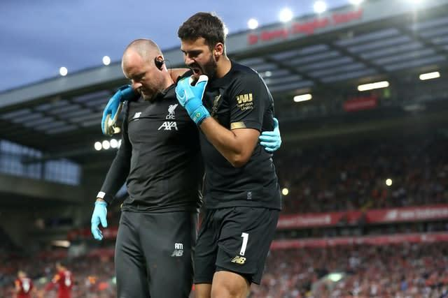 Victory over the Canaries came at a cost as first-choice goalkeeper Alisson Becker limped off after suffering a first-half injury. The Brazilian, pictured right, missed the next seven league matches, meaning some unexpected first-team action for summer signing Adrian (Martin Rickett/PA)
