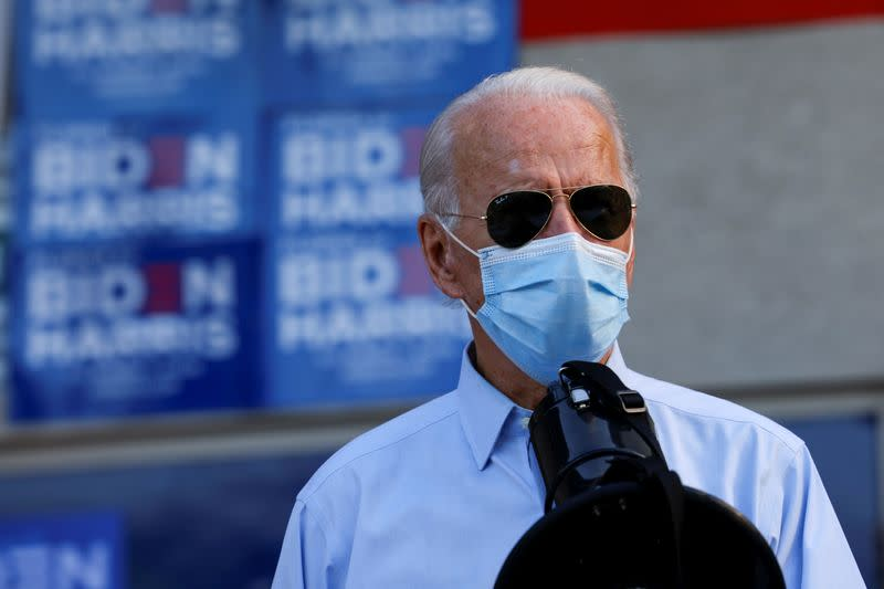 Democratic U.S. presidential nominee and former Vice President Joe Biden speaks at a Victory Center in Fort Lauderdale