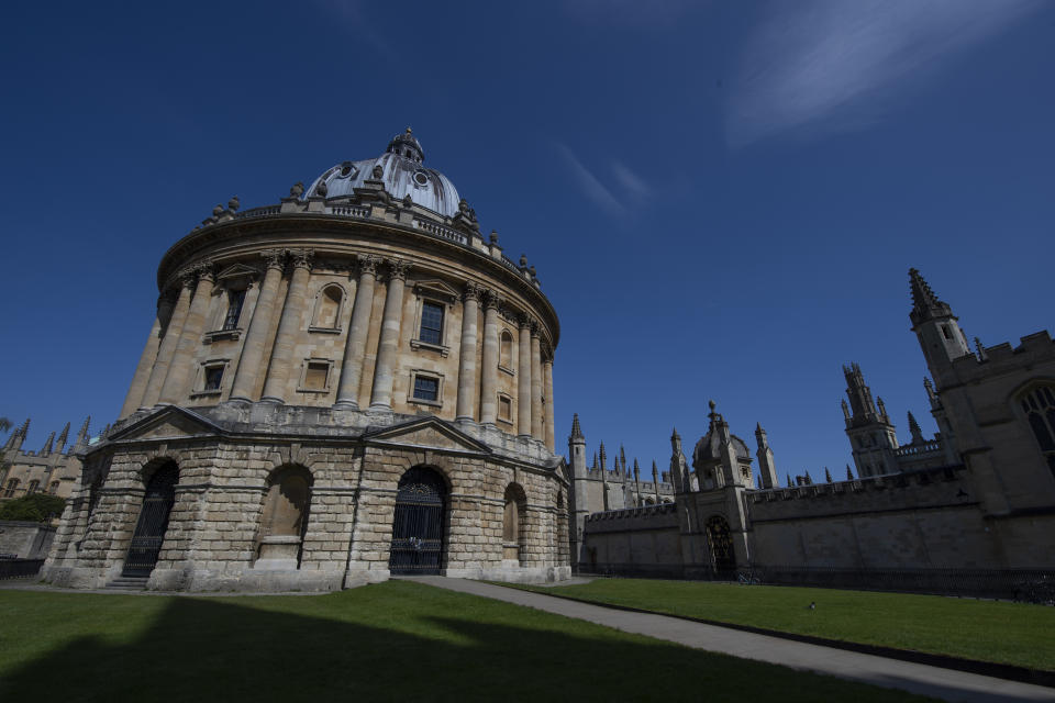 OXFORD, ENGLAND - APRIL 19: The Radcliffe Camera in a near deserted Radliffe Square, with All Souls College to the right, closed because of the Coronavirus lockdown on April 19, 2020 in Oxford, England. (Photo by VISIONHAUS)