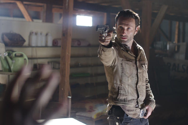 """This image released by AMC shows Andrew Lincoln in a scene from """"The Walking Dead."""" (AP Photo/AMC, Gene Page)"""