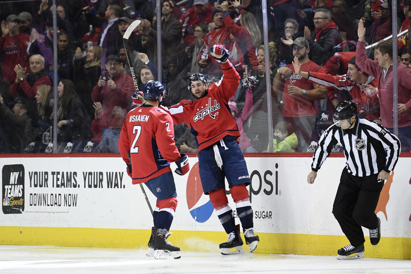 5b5c89046a1 Capitals beat Flames 4-3 without Ovechkin to end 7-game skid