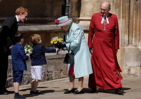 Britain's Queen Elizabeth II leaves the Easter Mattins Service at St. George's Chapel, at Windsor Castle
