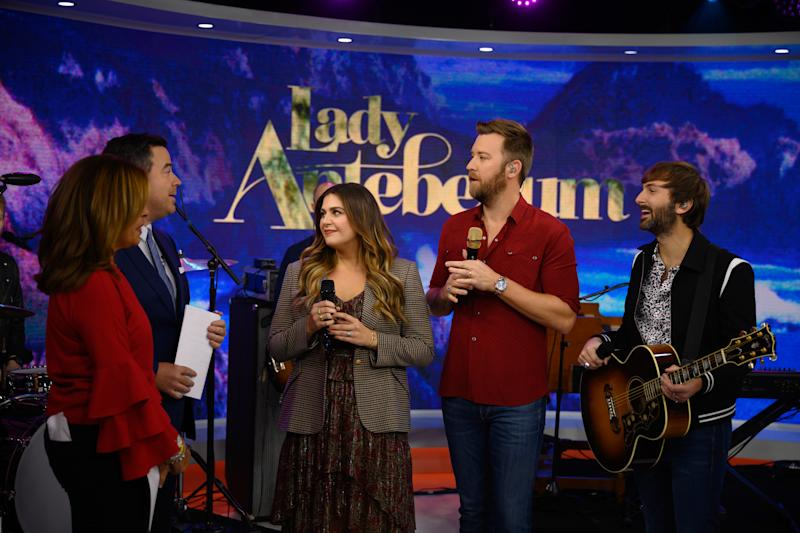 TODAY -- Pictured: (l-r) Hillary Scott of Lady Antebellum, Dave Haywood on Friday, November 15, 2019 -- (Photo by: Nathan Congleton/NBC/NBCU Photo Bank via Getty Images)