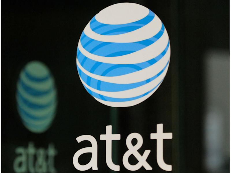 The AT&T logo can be seen in New York, New York: REUTERS/Stephanie Keith/File Photos