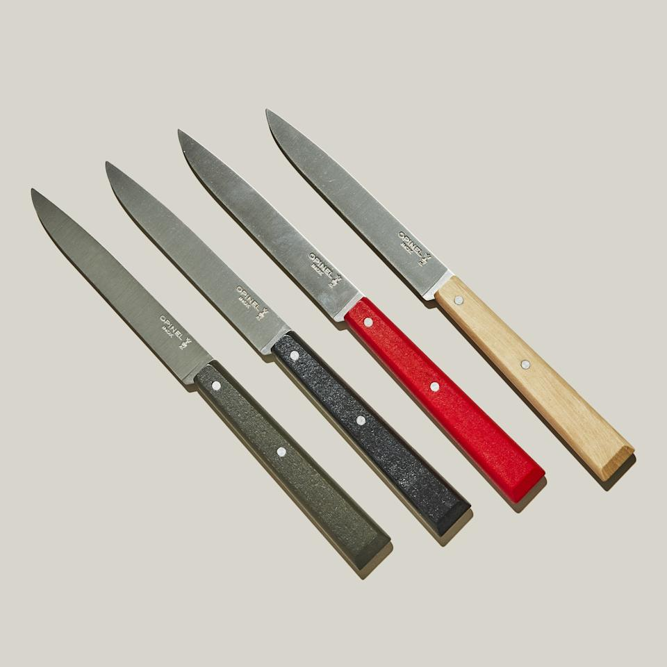"""<p>Although I am an adult who likes to entertain and also eat steak, I find most steak knives unappealing in their machismo single-purposiveness. But these Opinel """"Bon Appetit"""" (no relation!) table knives, with their delicate-yet-sharp non-serrated blades and painted wood handles, easily straddle casual and formal settings. I own 12 of them and plan to use them for every dinner party I ever have, because it's game-changing to serve your guests dinner with a knife that actually cuts.  — <em><strong>Anna Stockwell</strong>, senior food editor</em></p> <p>Buy it: <a href=""""https://www.amazon.com/Opinel-Appetit-Piece-Table-Southern/dp/B004R98TMG?th=1"""">Opinel 4-Piece Table Knife Set</a>, $54</p>"""