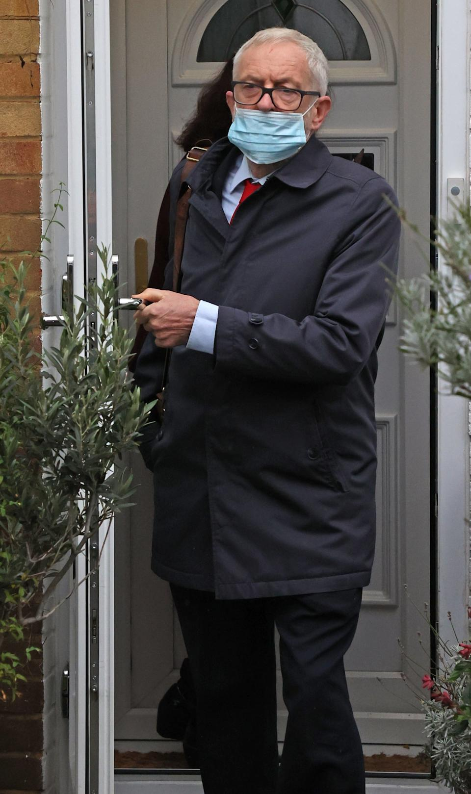 Labour Leader Jeremy Corbyn leaves home this morning (NIGEL HOWARD ©)