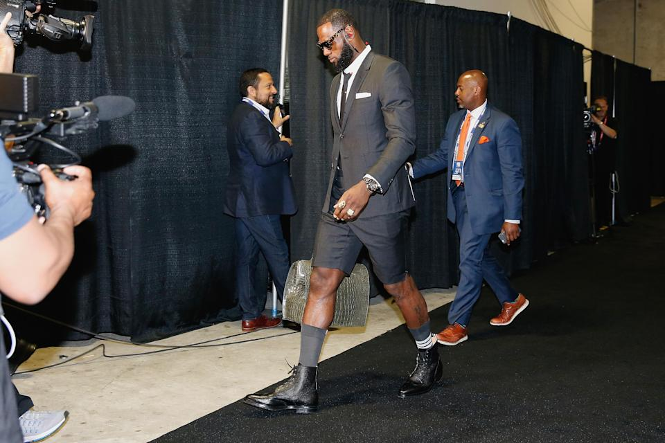 LeBron James' outfit that he wore to Game 1 of the NBA Finals on Thursday night cost more than $46,000. (Getty Images)