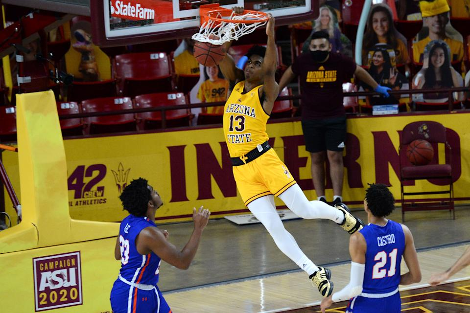 Arizona State guard Josh Christopher (13) dunks against Houston Baptist during a game. (Joe Camporeale-USA TODAY Sports)