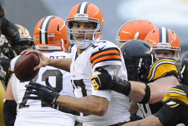 Cleveland Browns quarterback Jason Campbell (17) is hit by a Pittsburgh Steelers defender and loses the ball in the first quarter of an NFL football game on Sunday, Dec. 29, 2013, in Pittsburgh. The Steelers recovered the ball. (AP Photo/Don Wright)