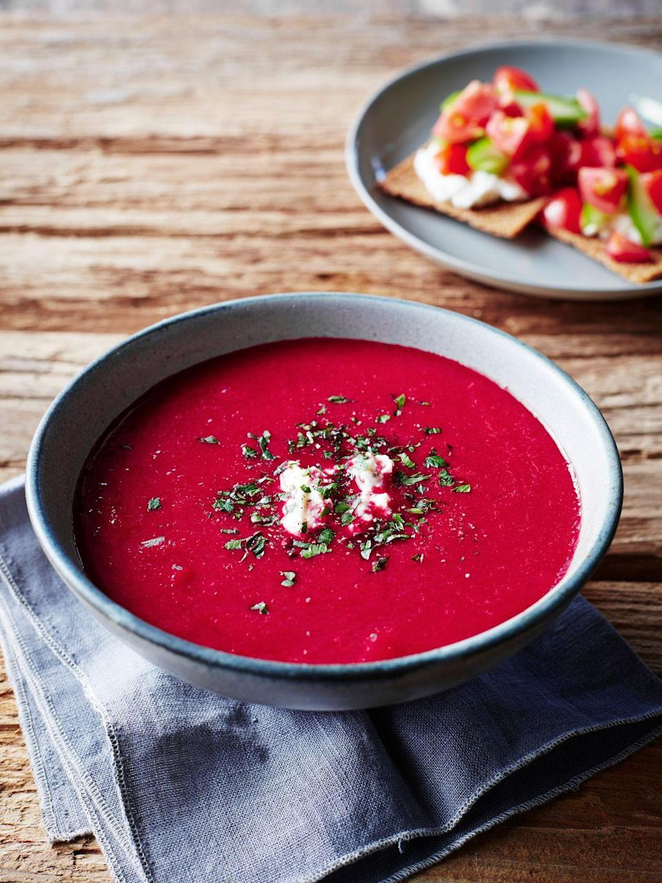 "<p>Vibrant both in color and in flavor, this soup works well for lunch or as a suppertime starter.</p><p><strong><a href=""https://www.countryliving.com/food-drinks/recipes/a1773/beet-apple-soup-3895/"" rel=""nofollow noopener"" target=""_blank"" data-ylk=""slk:Get the recipe"" class=""link rapid-noclick-resp"">Get the recipe</a>.</strong></p>"