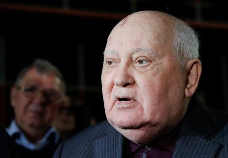 "Former Soviet President Mikhail Gorbachev addresses the audience after the Russian premiere of the documentary film ""Meeting Gorbachev"" in Moscow, Russia November 8, 2018. REUTERS/Tatyana Makeyeva"