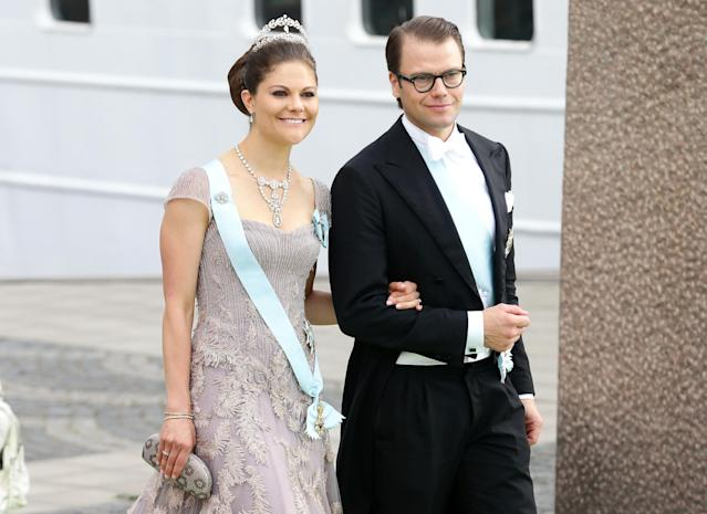 STOCKHOLM, SWEDEN - JUNE 08: Crown Princess Victoria of Sweden and Prince Daniel of Sweden depart for the travel by boat to Drottningholm Palace for dinner after the wedding ceremony of Princess Madeleine of Sweden and Christopher O'Neill hosted by King Carl Gustaf XIV and Queen Silvia at The Royal Palace on June 8, 2013 in Stockholm, Sweden. (Photo by Vittorio Zunino Celotto/Getty Images)
