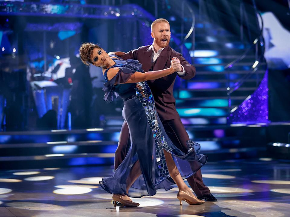 WARNING: Embargoed for publication until 21:00:01 on 02/10/2021 - Programme Name: Strictly Come Dancing 2021 - TX: 02/10/2021 - Episode: Strictly Come Dancing - TX2 LIVE SHOW (No. n/a) - Picture Shows: ++DRESS RUN++ *NOT FOR PUBLICATION UNTILL 21:00hrs, SATURDAY 2ND OCTOBER, 2021* Nina Wadia, Neil Jones - (C) BBC - Photographer: Guy Levy