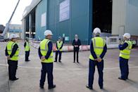 <p>Prince William visits the BAE Systems shipyard to see and learn about construction work on HMS Glasgow, a Royal Navy frigate in Glasgow, Scotland on June 29, 2021.</p>
