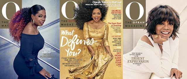 Oprah showed off three totally different hair looks for the February 2018 cover of <em>O Magazine</em>. (Photo: Oprah Magazine)