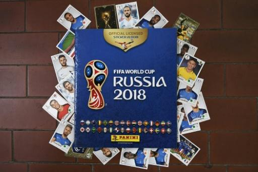 Collectible albums and cards for the 2018 Russia football World Cup, created by the Panini Group at their factory in Modena, northern Italy