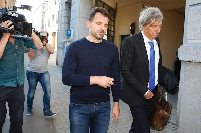 Club Brugge head coach Ivan Leko, who was accompanied by his lawyer, was released from the Palace of Justice in Tongeren after questioning (AFP Photo/NICOLAS MAETERLINCK)