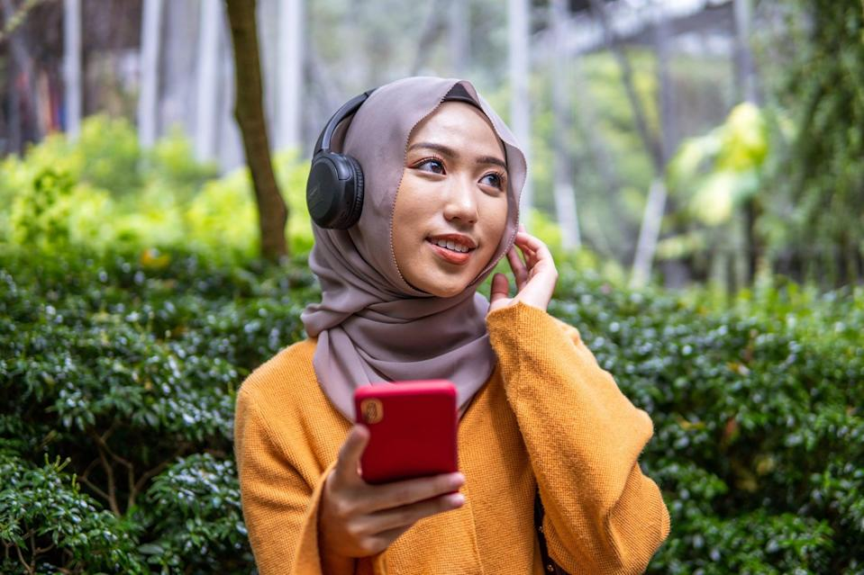 """<p>While you're getting dressed, having breakfast, or taking a shower, put on an inspiring Ted Talk or podcast to """"set yourself up for success,"""" Blakely said. """"You will be surprised at what you pick up in passing,"""" just by listening to something uplifting in the background.</p>"""