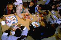 <p>Students dine on Pizza Hut, available in their school cafeteria. </p>