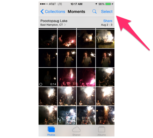 iPhone Moments screen