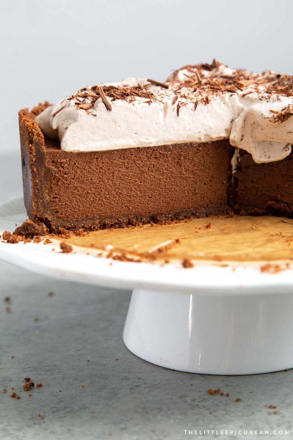 """<p>Love a rich dessert? Try a silky mousse-filled pie topped with whipped cream and plenty of chocolate shavings. </p><p><a href=""""https://www.thelittleepicurean.com/2019/08/chocolate-mousse-pie.html"""" rel=""""nofollow noopener"""" target=""""_blank"""" data-ylk=""""slk:Get the recipe"""" class=""""link rapid-noclick-resp"""">Get the recipe</a>.</p>"""