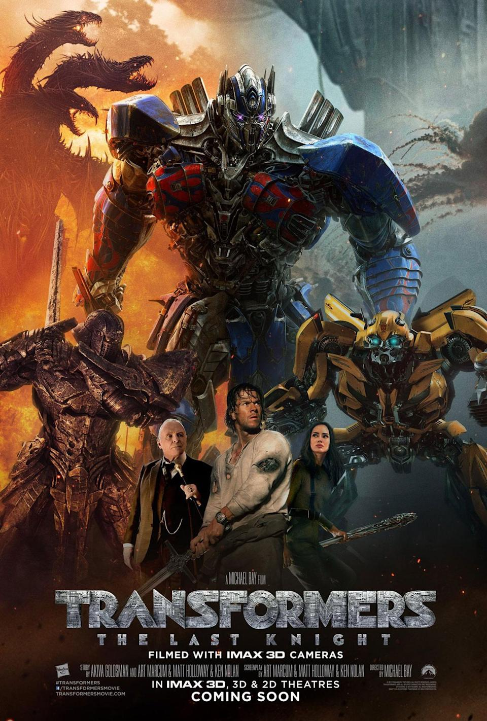 <p>Michael Bay directs posters the same way he directs movies: more robots, more weapons, more explosions… and put a dragon on it! If you had to politely describe this poster to someone, you would say 'There's definitely a lot going on', then you would quickly change the subject, because looking at it for long periods of time will make you go blind. </p>