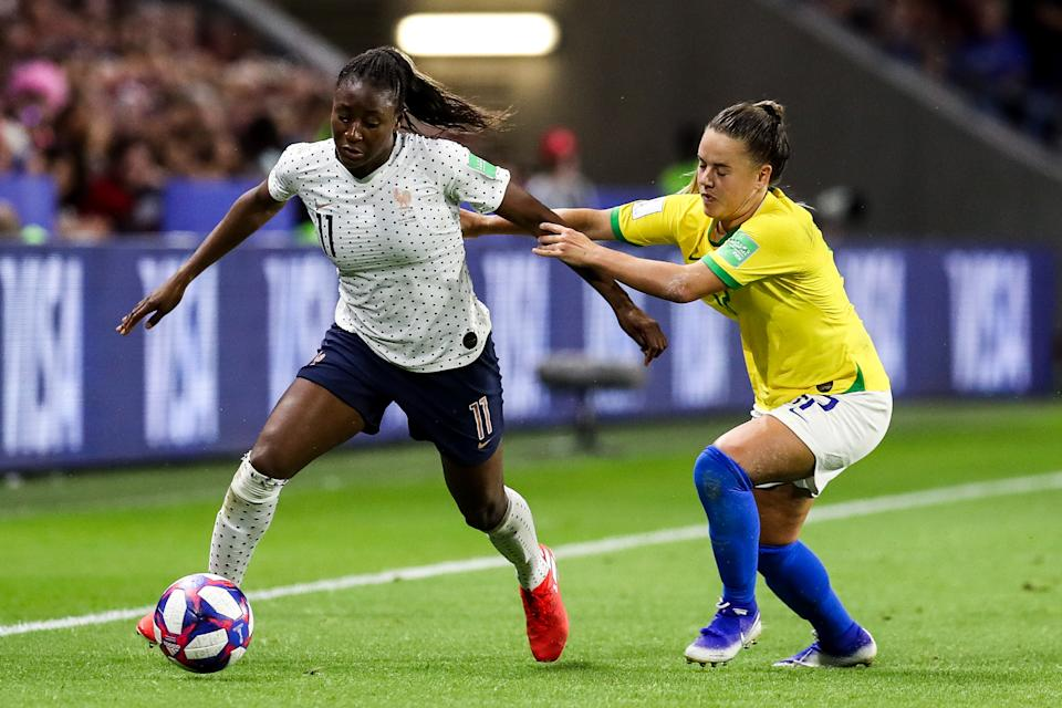 #11 Kadidiatou Diani of France controls the ball during the 2019 FIFA Women's World Cup France Round Of 16 match between France and Brazil at Stade Oceane on June 23, 2019 in Le Havre, France. (Photo by Zhizhao Wu/Getty Images)