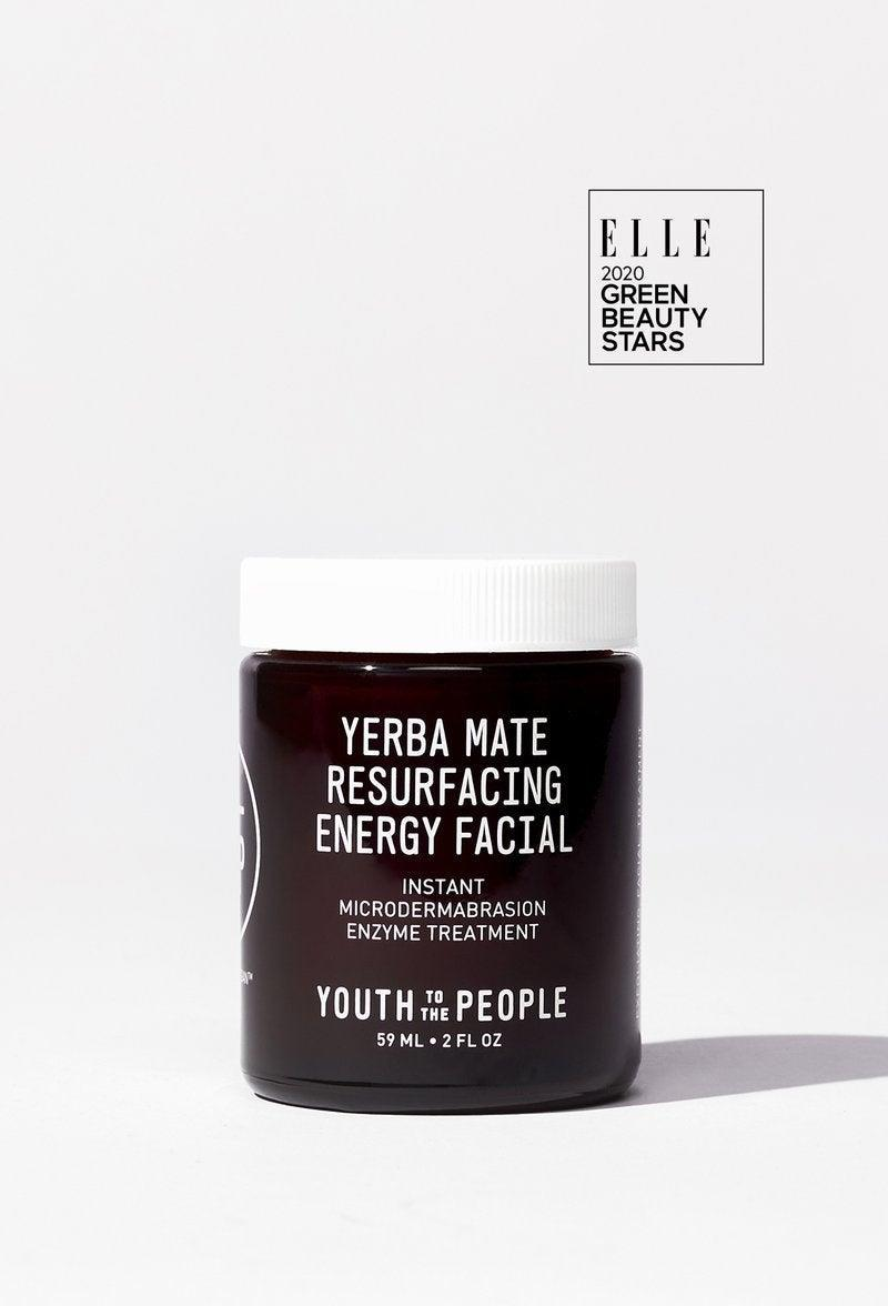 """<h3>Yerba Mate Resurfacing Energy Facial</h3>This resurfacing facial will resurface a lot more than you bargained for if you're too aggressive — so be <em>gentle</em>. The fine bamboo granules mildly exfoliated my skin as long as I didn't rub too rigorously. It left my skin feeling really clean, but not like it was going to crack. <br><br>The suggested frequency is 1-2 times a week, but I think once a week might be best for me.<br><br><strong>Youth To The People</strong> Yerba Mate Resurfacing Energy Facial, $, available at <a href=""""https://go.skimresources.com/?id=30283X879131&url=https%3A%2F%2Fwww.youthtothepeople.com%2Fproducts%2Fyerba-mate-resurfacing-energy-facial"""" rel=""""nofollow noopener"""" target=""""_blank"""" data-ylk=""""slk:Youth To The People"""" class=""""link rapid-noclick-resp"""">Youth To The People</a>"""
